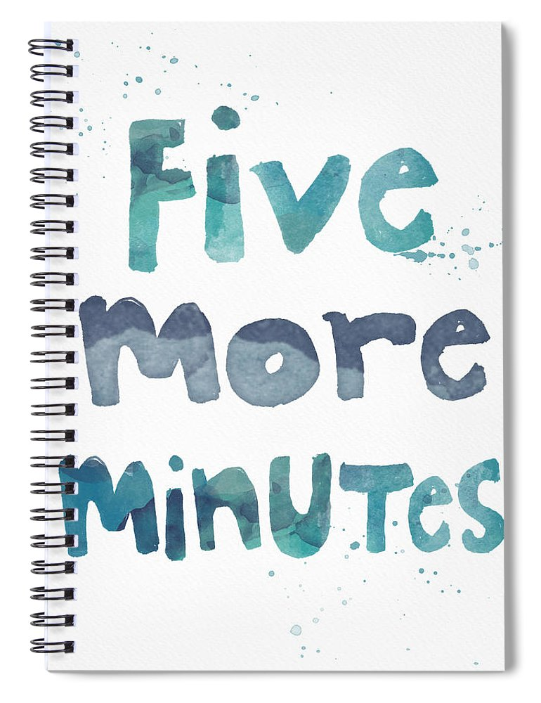 Sleep Spiral Notebook featuring the painting Five More Minutes by Linda Woods