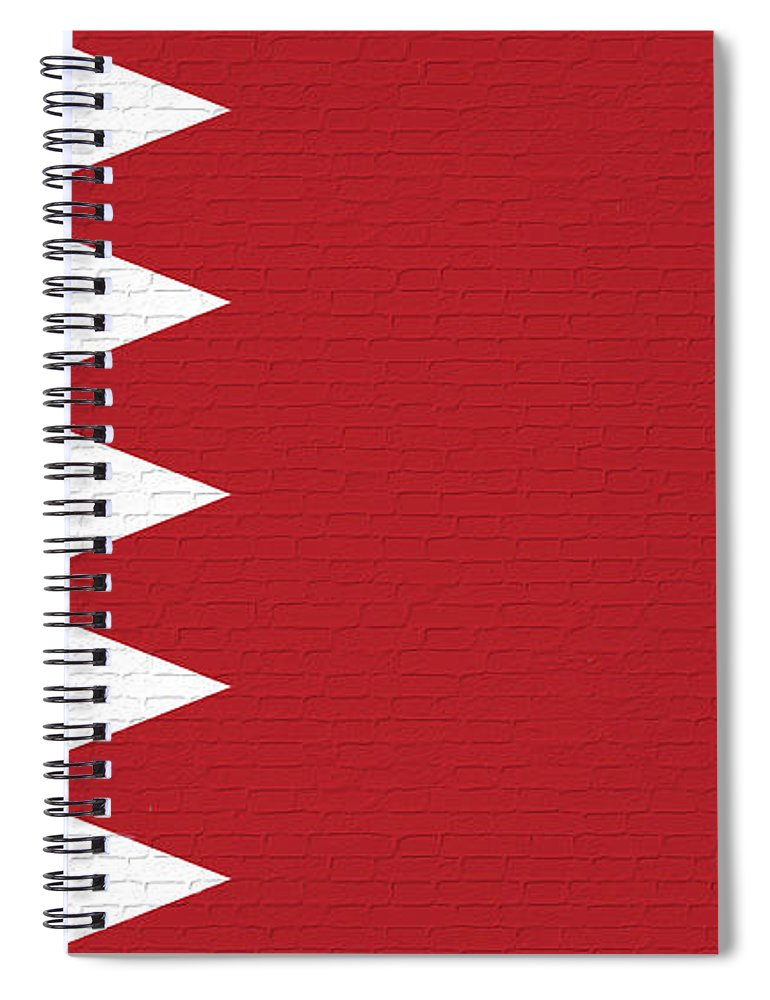 Flag Of Bahrain Spiral Notebook featuring the digital art Flag Of Bahrain Wall. by Roy Pedersen
