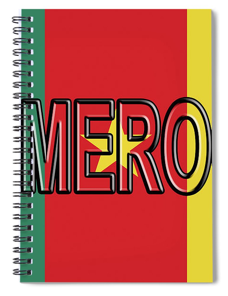 Africa Spiral Notebook featuring the digital art Flag Of Cameroon Word. by Roy Pedersen