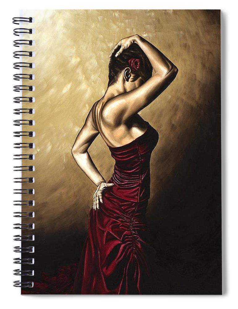 Flamenco Spiral Notebook featuring the painting Flamenco Woman by Richard Young