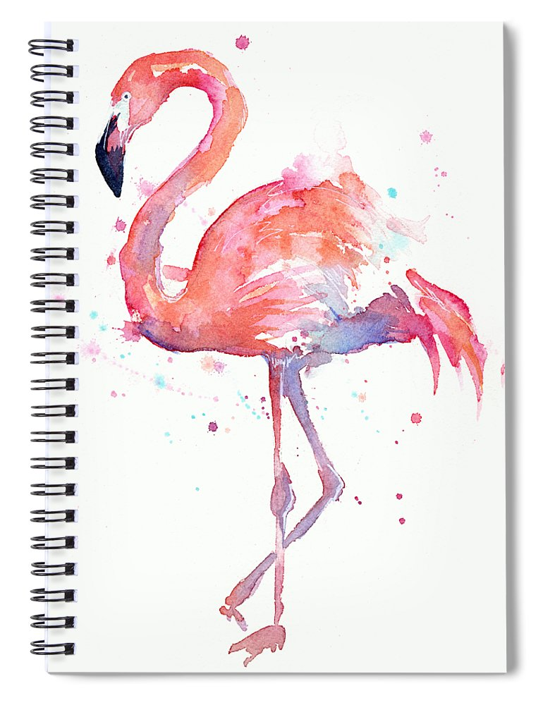 Watercolor Spiral Notebook featuring the painting Flamingo Love Watercolor by Olga Shvartsur