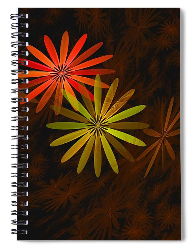 Digital Photography Spiral Notebook featuring the digital art Floating Floral-008 by David Lane