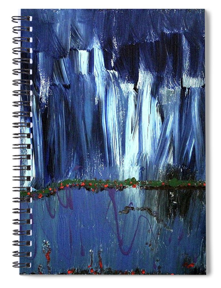Blue Spiral Notebook featuring the painting Floating Gardens by Pam Roth O'Mara