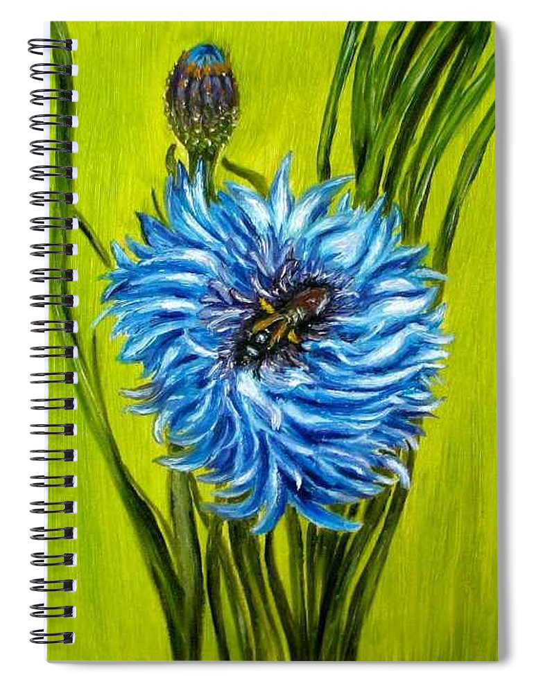 Floral Spiral Notebook featuring the painting Flower and Bee oil painting by Natalja Picugina