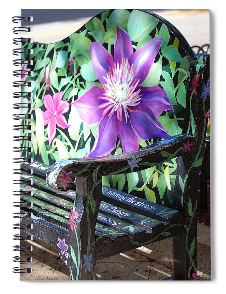 Macro Spiral Notebook featuring the photograph Flower Bench by Rob Hans