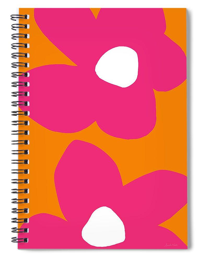 Flower Spiral Notebook featuring the digital art Flower Power 2- Art by Linda Woods by Linda Woods