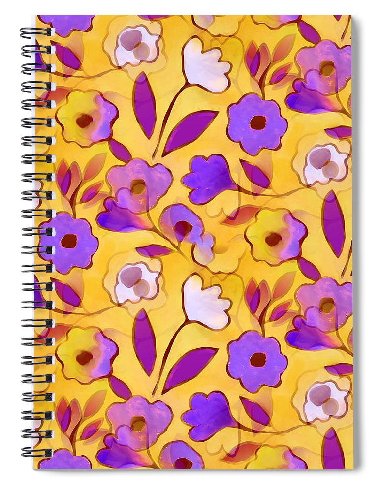 Spiral Notebook featuring the tapestry - textile Flower Riot by Elaine Jackson