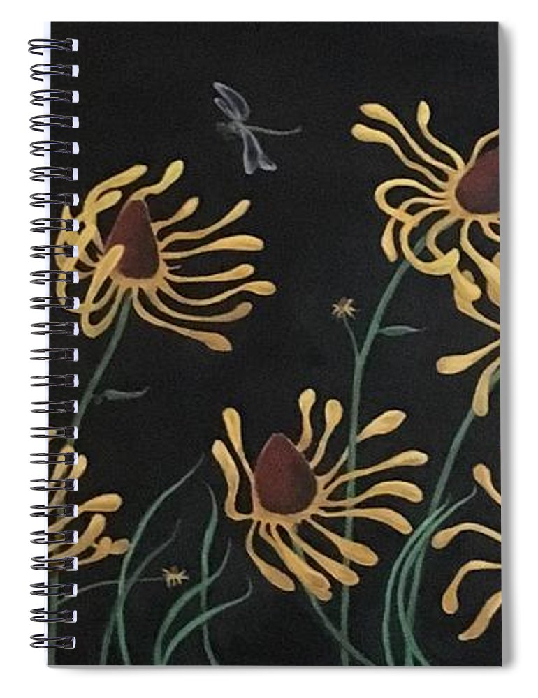 Flower Spiral Notebook featuring the painting Flowers And Dragons by Ron Tango Jr