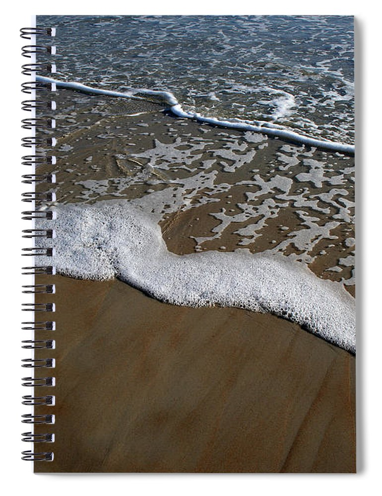 Beach Sand Wave Waves Foam Foamy White Sunny Clear Water Ocean Spiral Notebook featuring the photograph Foamy Water by Andrei Shliakhau