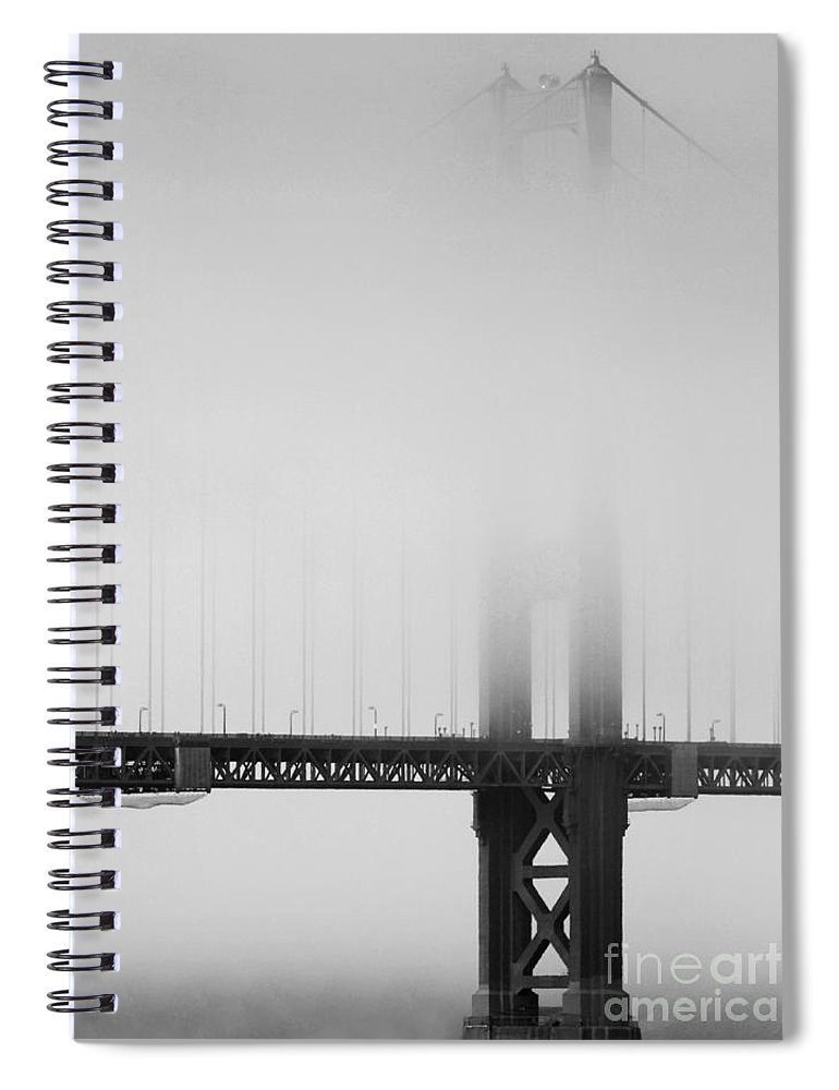 Black And White Spiral Notebook featuring the photograph Fog At The Golden Gate Bridge 4 - Black And White by Wingsdomain Art and Photography
