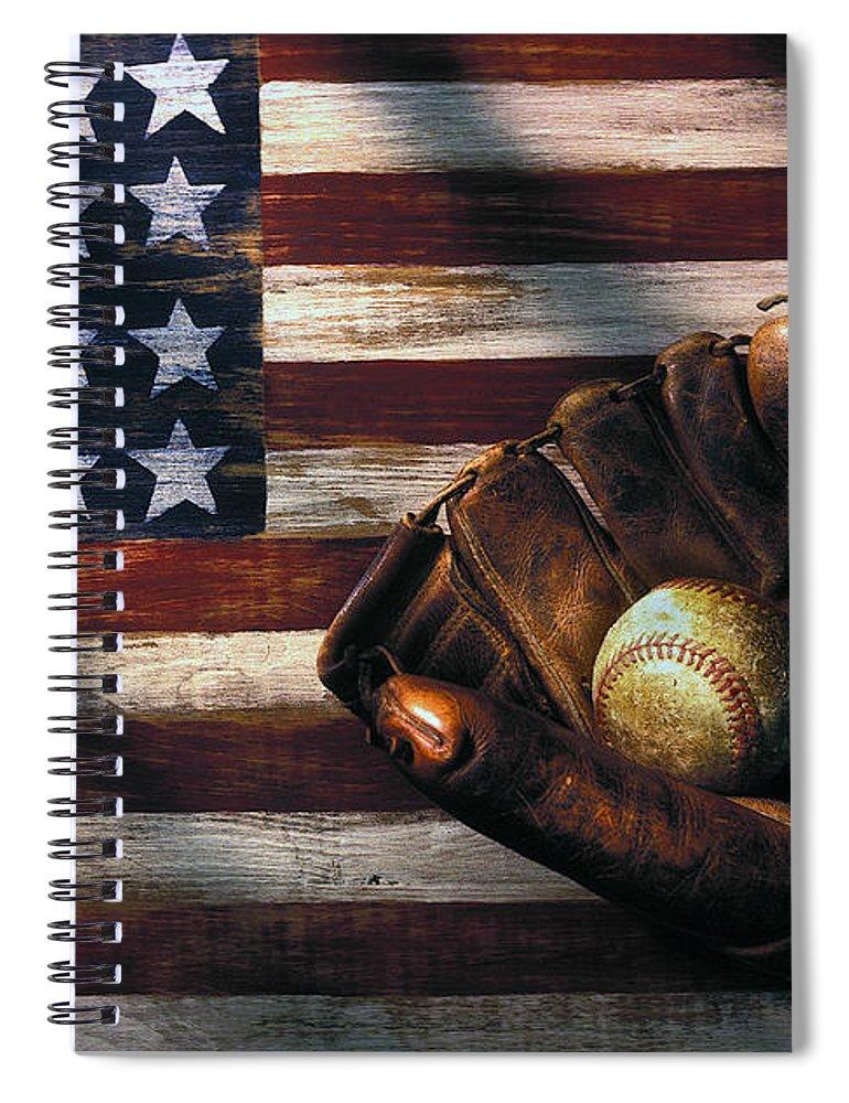 Folk Art American Flag Spiral Notebook featuring the photograph Folk art American flag and baseball mitt by Garry Gay
