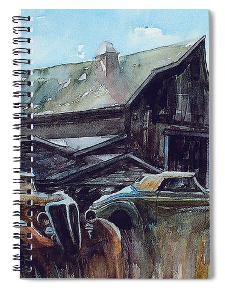 Barn Spiral Notebook featuring the painting Ford Cabriolets Guard the Barn by Ron Morrison