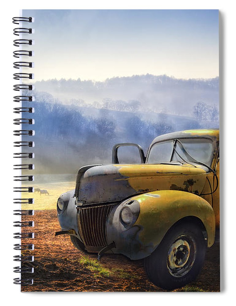 Appalachia Spiral Notebook featuring the photograph Ford In The Fog by Debra and Dave Vanderlaan