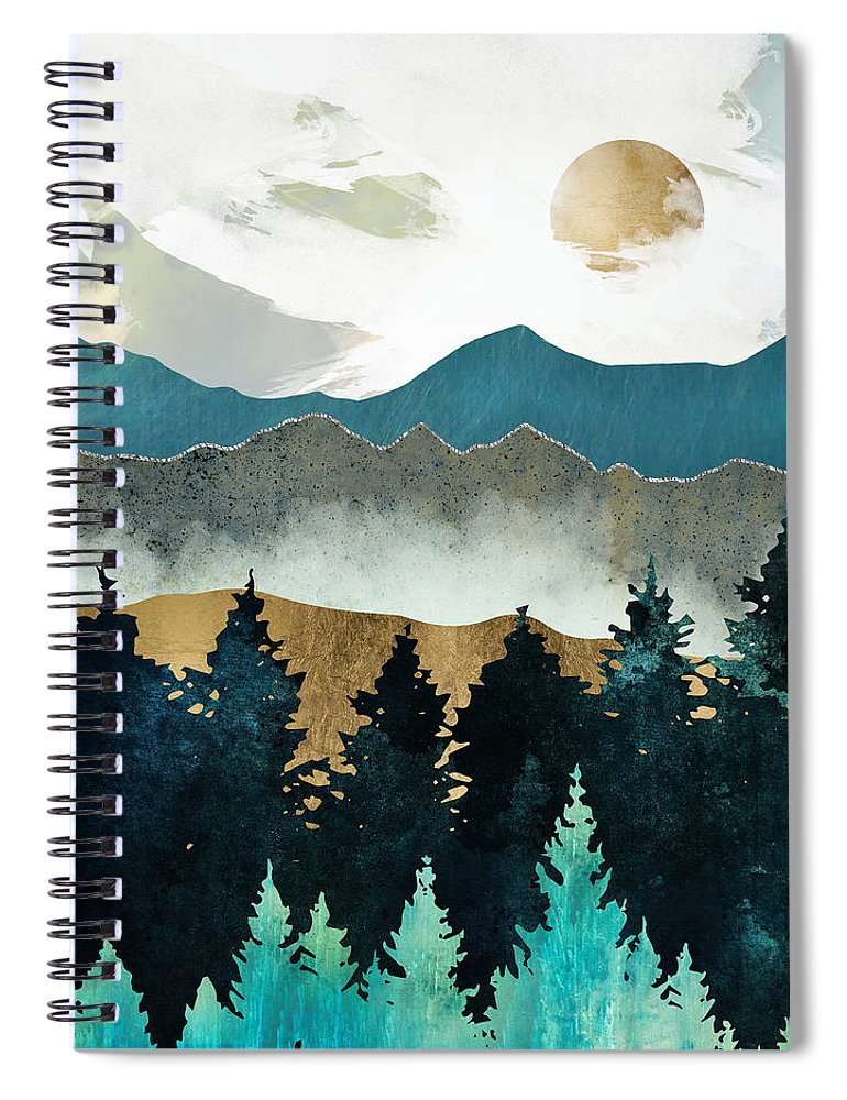 Forest Spiral Notebook featuring the digital art Forest Mist by Spacefrog Designs