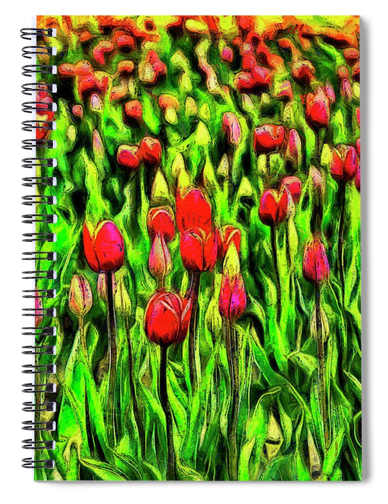 Tulips Spiral Notebook featuring the digital art Forever Tulips by Mark Kiver