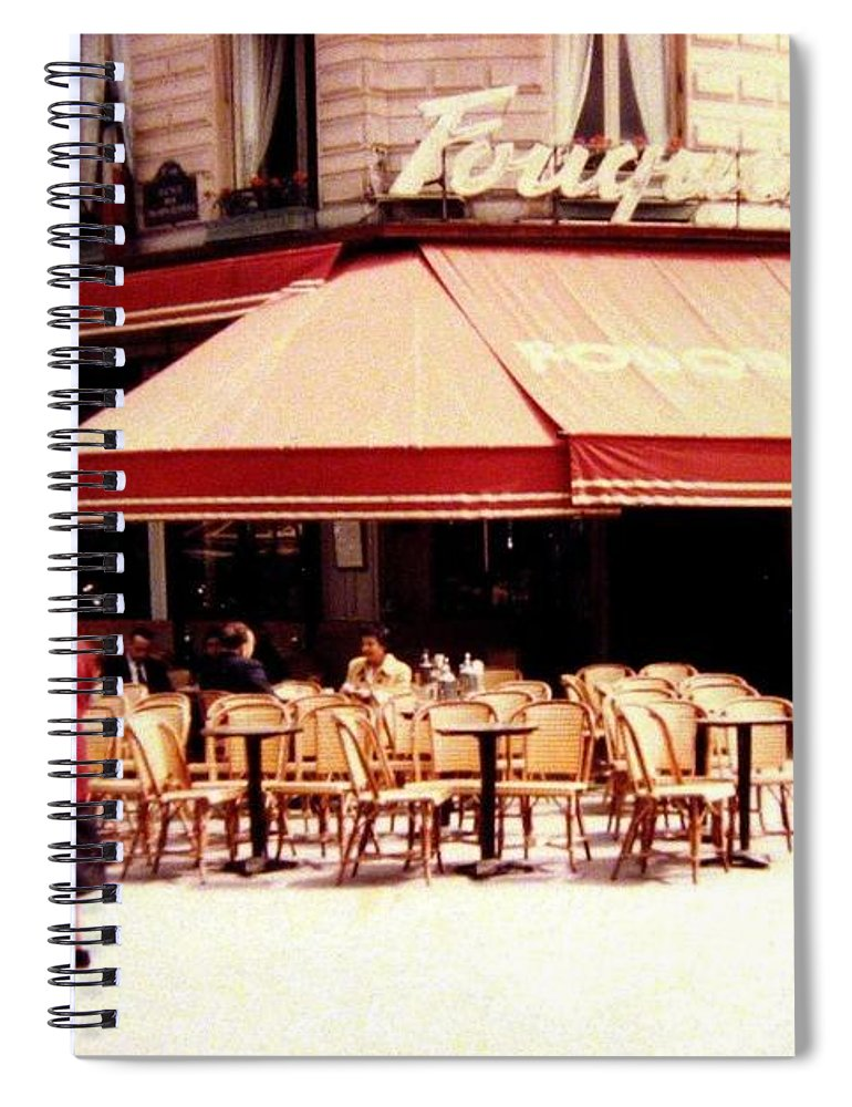 1955 Spiral Notebook featuring the photograph Fouquets Of Paris 1955 by Will Borden