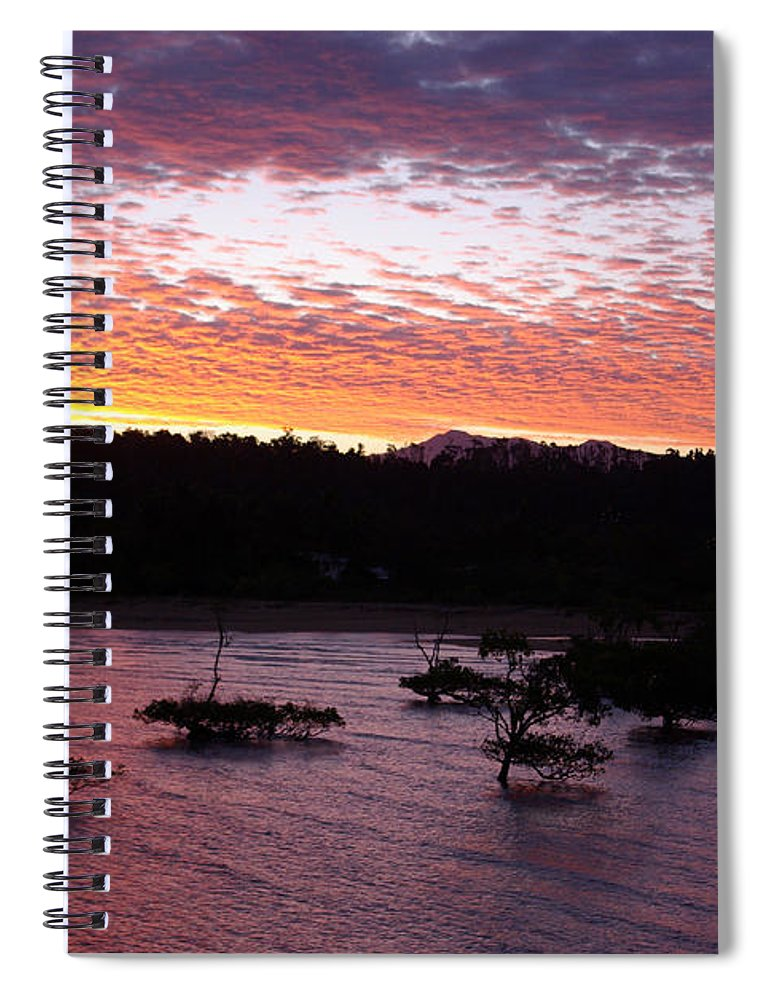 Landscape Spiral Notebook featuring the photograph Four Elements Sunset Sequence 3 Coconuts Qld by Kerryn Madsen - Pietsch