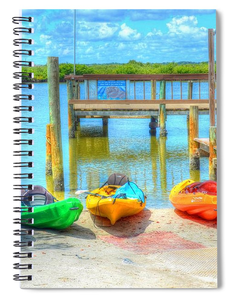 Kayaks Spiral Notebook featuring the photograph Four Kayaks by Debbi Granruth