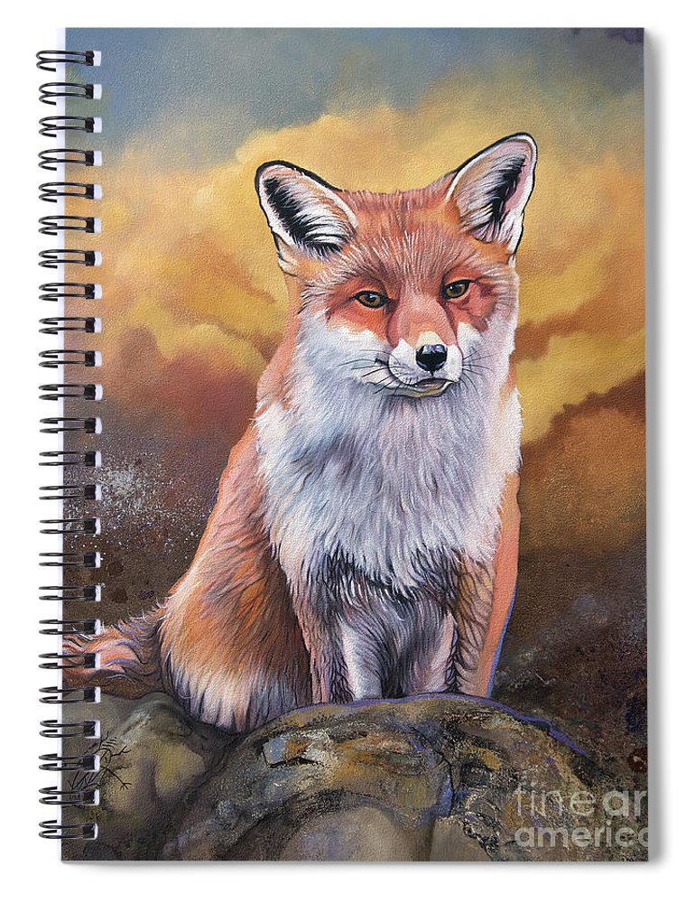 Collectible Spiral Notebook featuring the painting Fox Knows by J W Baker