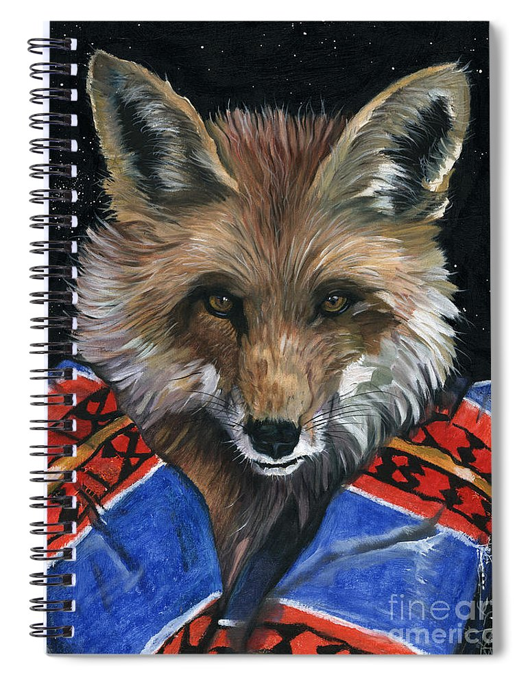 Fox Spiral Notebook featuring the painting Fox Medicine by J W Baker