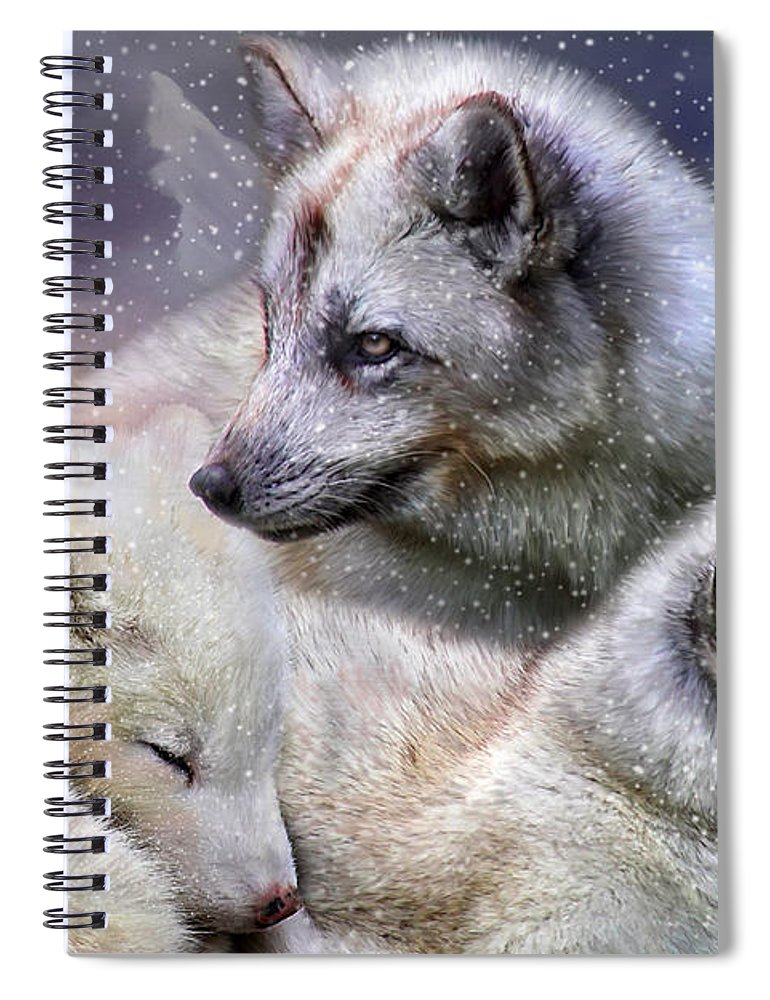 Fox Spiral Notebook featuring the mixed media Fox Moods by Carol Cavalaris