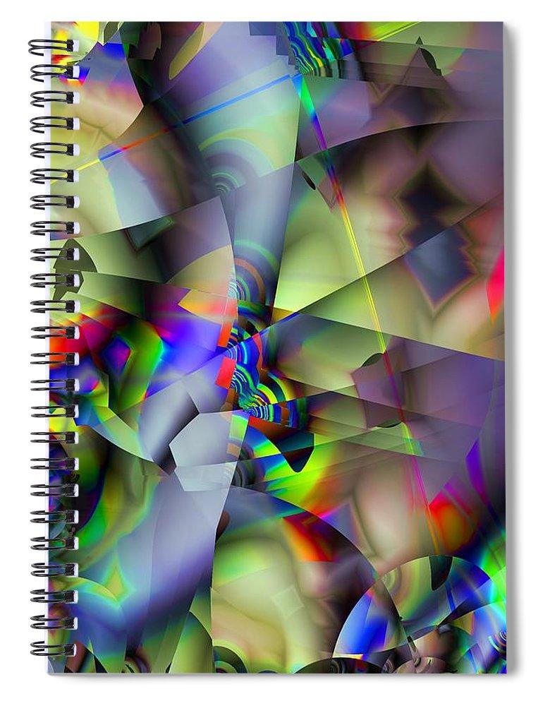 Fractal Spiral Notebook featuring the digital art Fractal Cubism by Ron Bissett