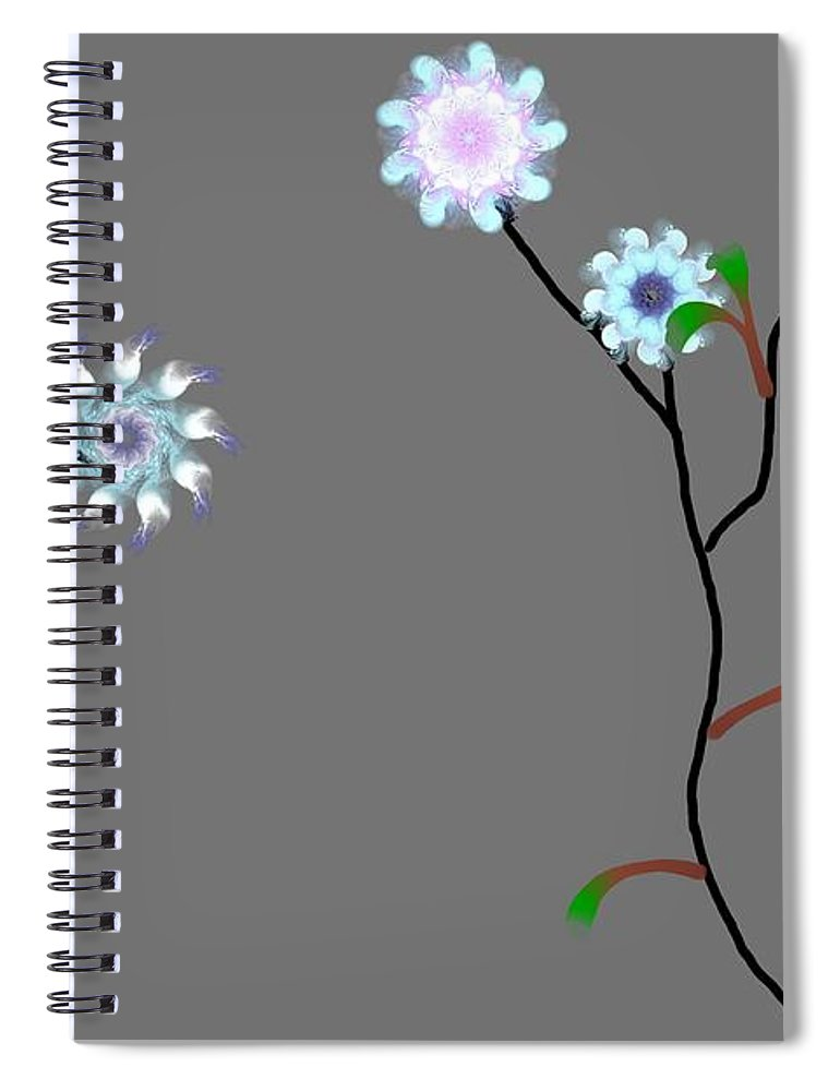 Digital Painting Spiral Notebook featuring the digital art Fractal Floral 10-21-09 by David Lane
