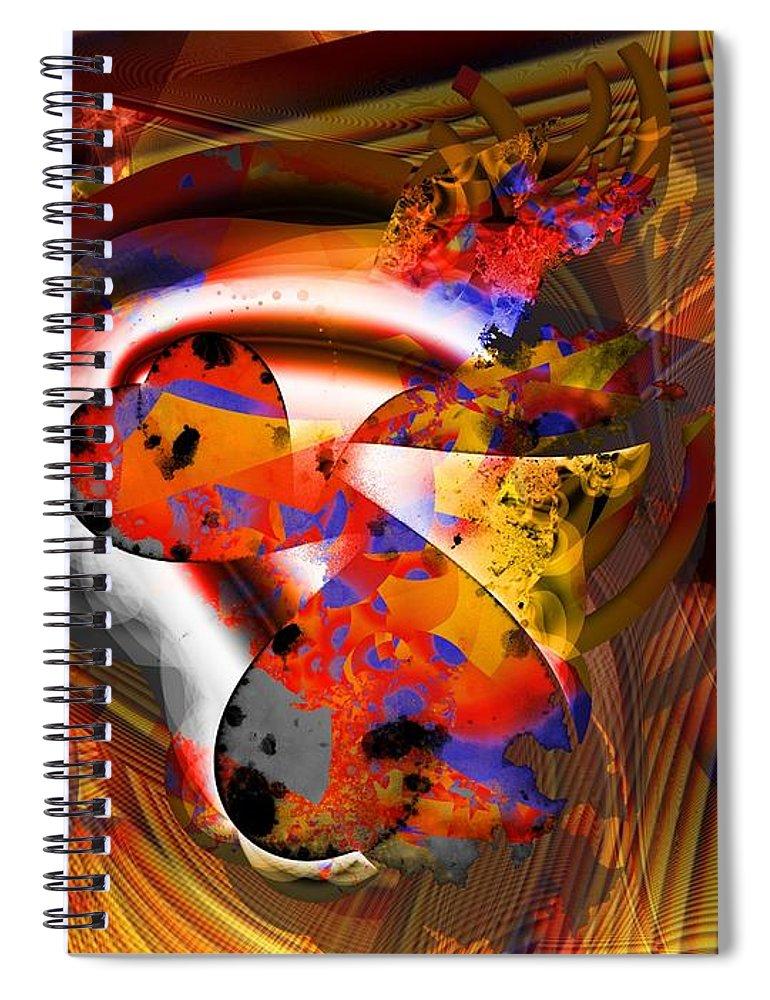 Heart Spiral Notebook featuring the digital art Fractal Heart by Ron Bissett