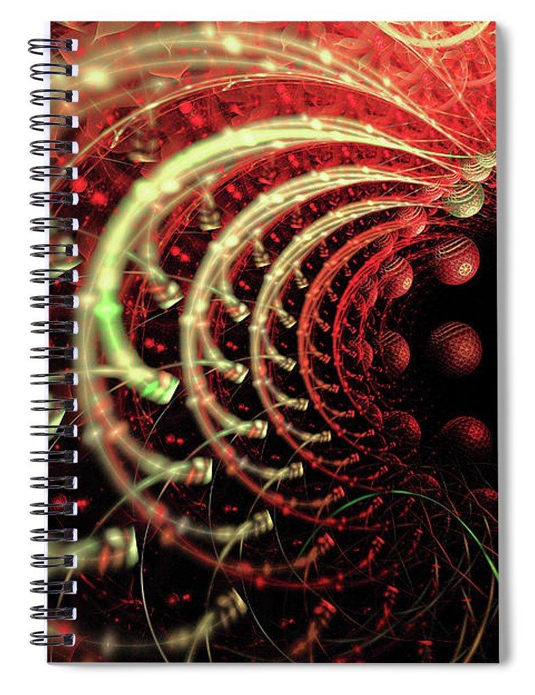 Fractal Spiral Notebook featuring the digital art Fractal Solar Flare by Ann Garrett