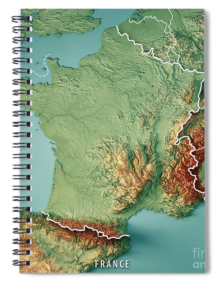 Topographic Map France.France Country 3d Render Topographic Map Border Spiral Notebook For