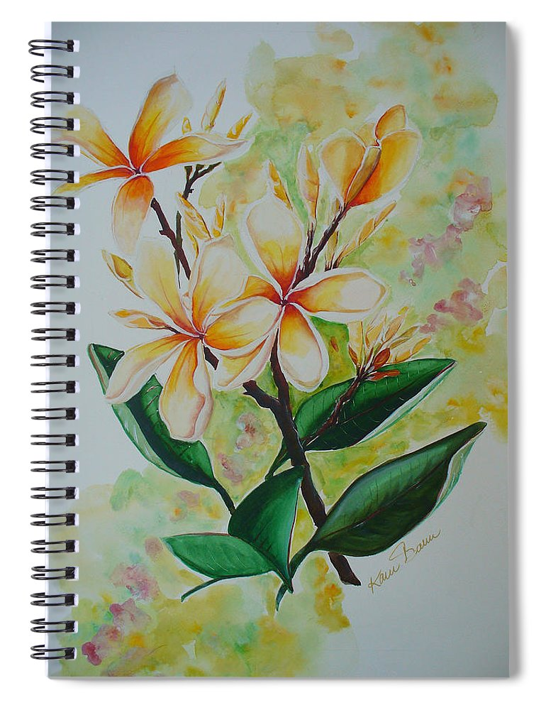 Spiral Notebook featuring the painting Frangipangi by Karin Dawn Kelshall- Best
