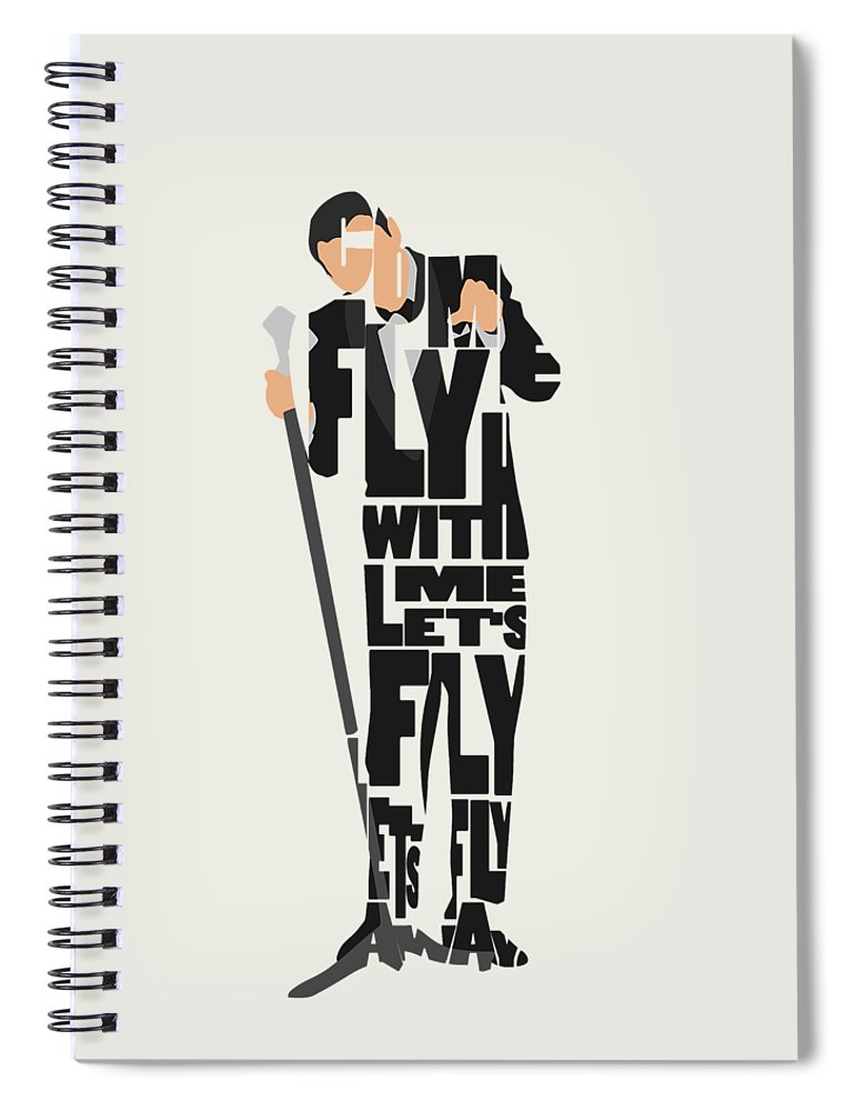 Frank Spiral Notebook featuring the painting Frank Sinatra Typography Art by Inspirowl Design