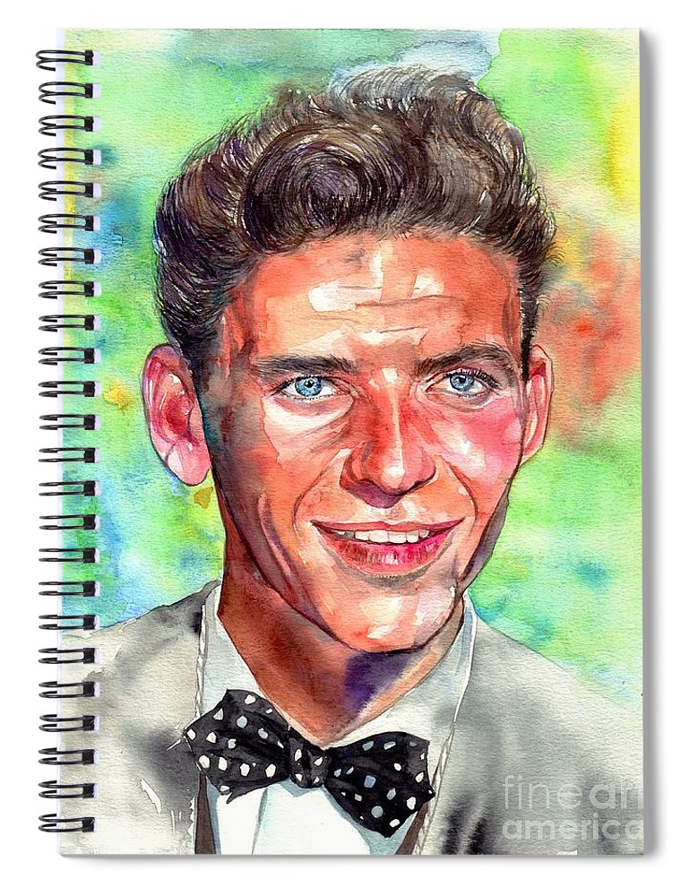 Frank Spiral Notebook featuring the painting Frank Sinatra Young Painting by Suzann Sines