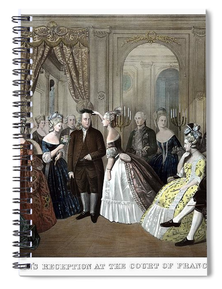Benjamin Franklin Spiral Notebook featuring the painting Franklin's Reception At The Court Of France by War Is Hell Store