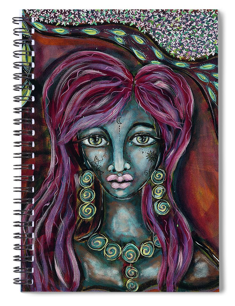 Intentional Creativity Spiral Notebook featuring the painting Self Contained by Evelyne Verret