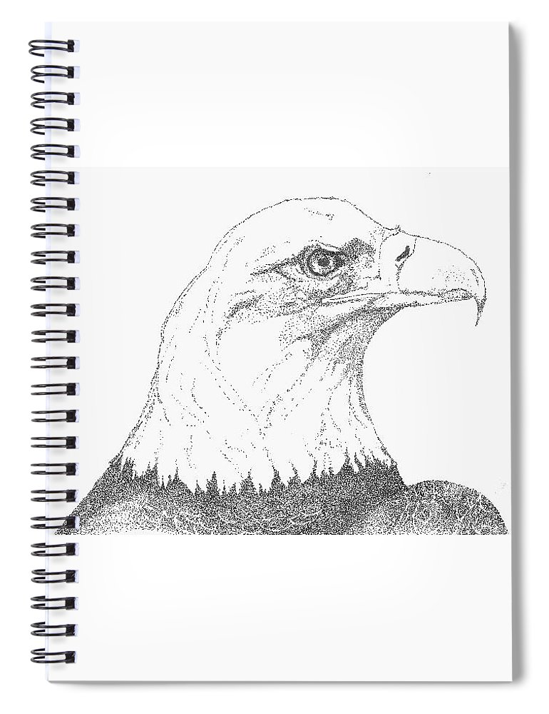 Eagle Spiral Notebook featuring the drawing Freedom by Debra Sandstrom