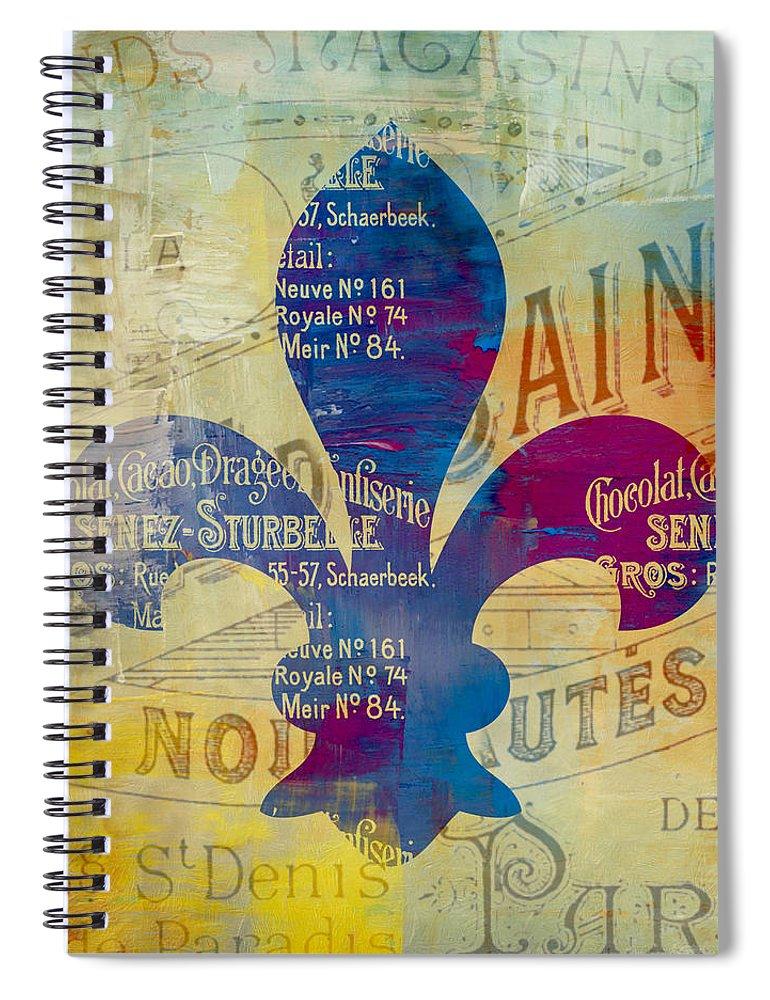 Brandi Fitzgerald Spiral Notebook featuring the digital art French Inspired Fleur De Lis by Brandi Fitzgerald