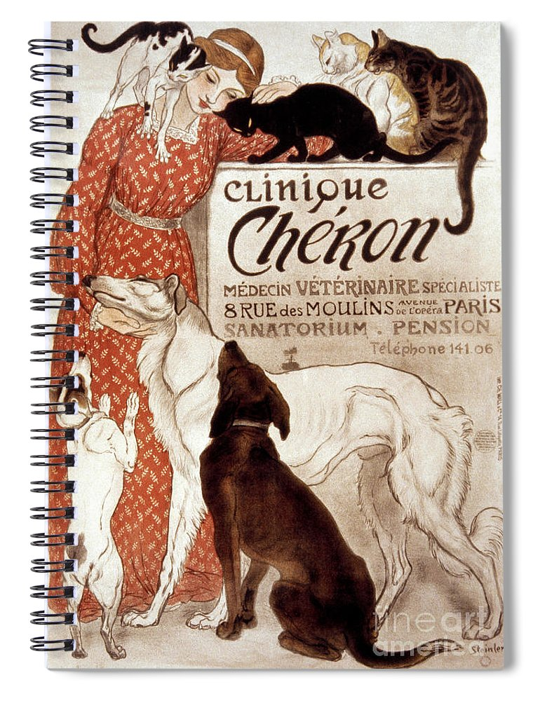 1894 Spiral Notebook featuring the photograph French Veterinary Clinic by Granger