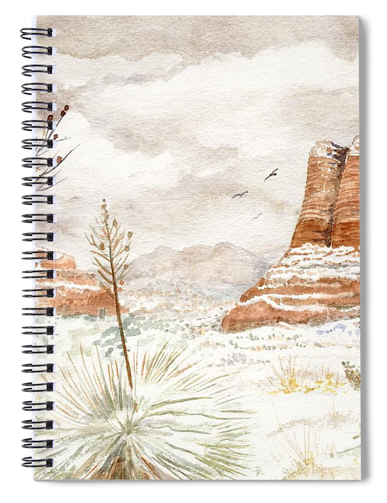 Bell Rock Spiral Notebook featuring the painting Fresh Snow On Bell Rock by Marilyn Smith