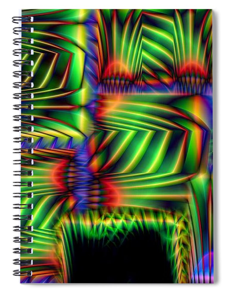 Abstract Spiral Notebook featuring the digital art Frond Collage by Ron Bissett