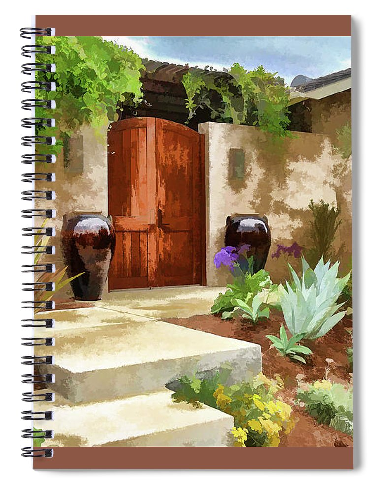 Linda Brody Spiral Notebook featuring the digital art Front Entrance 2 Abstract I by Linda Brody