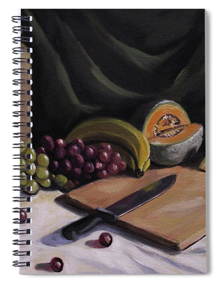Still Life Spiral Notebook featuring the painting Fruit By The Light by Nancy Griswold