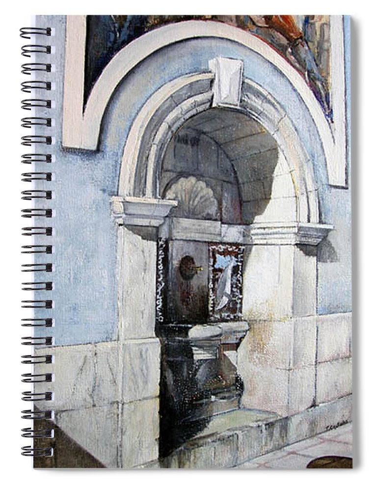 Fuente Spiral Notebook featuring the painting Fuente Castro Urdiales by Tomas Castano