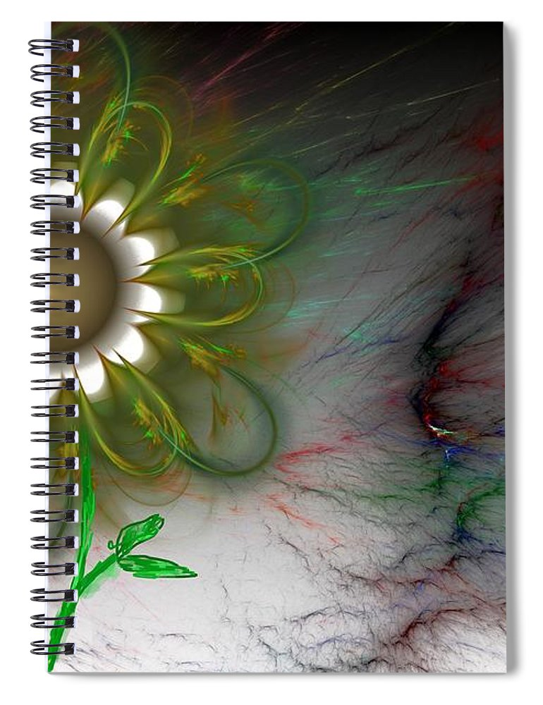 Digital Photography Spiral Notebook featuring the digital art Funky Floral by David Lane