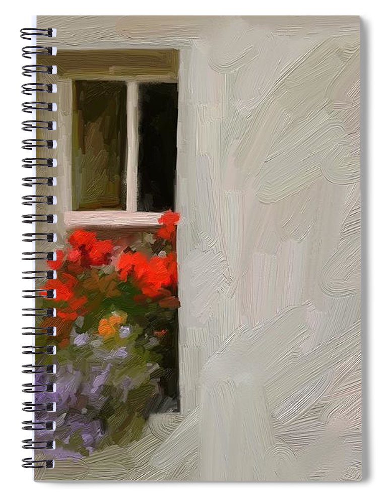 Art Painting Landscape Spiral Notebook featuring the digital art Galway Window by Scott Waters