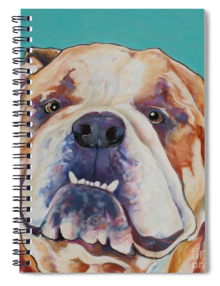 Pat Saunders-white Pet Portraits Spiral Notebook featuring the painting Game Face  by Pat Saunders-White