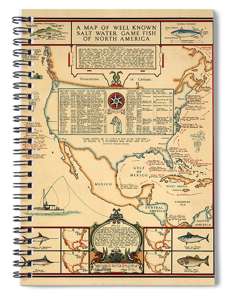 Angling Chart Of North America Spiral Notebook featuring the drawing Game Fishing Chart of North America - Game Fish Varieties - Illustrated Map for Anglers by Studio Grafiikka