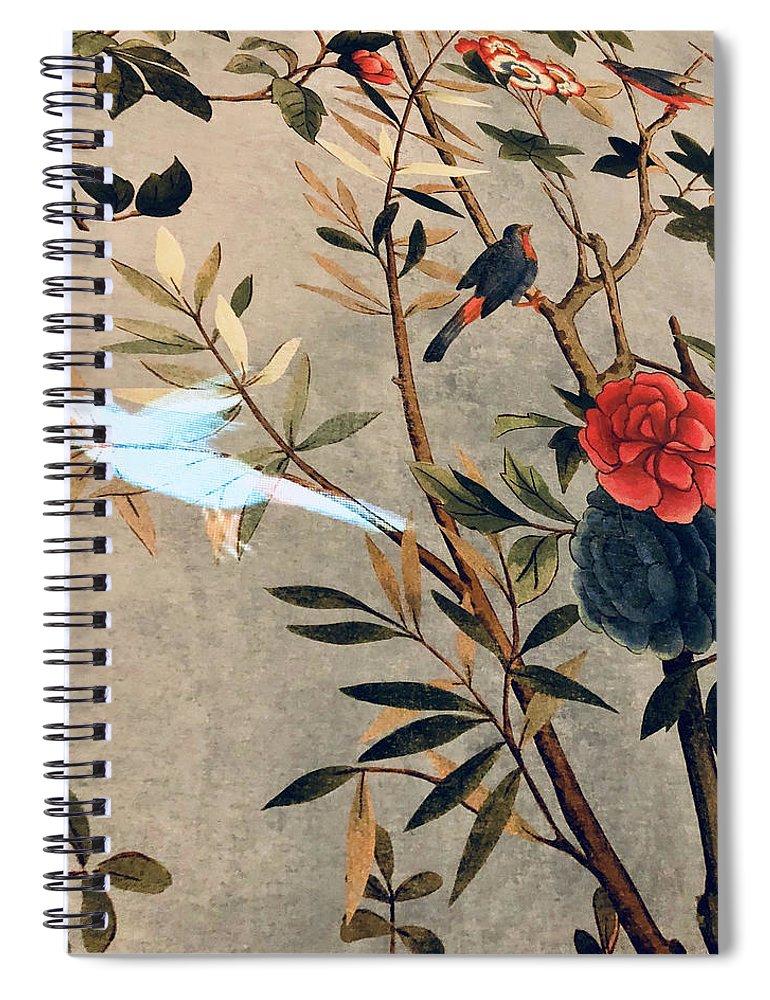 Spiral Notebook featuring the photograph Garden Bird by Ceil Diskin