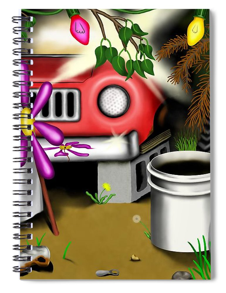 Surrealism Spiral Notebook featuring the digital art Garden Landscape I - Into The Trailorpark by Robert Morin