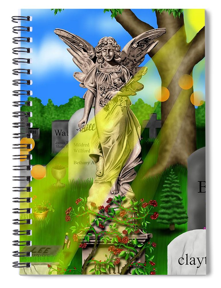 Surrealism Spiral Notebook featuring the digital art Garden Landscape III a - Where The Dead Sleep by Robert Morin